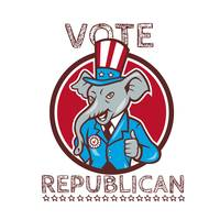 Vote Republican Elephant Mascot Thumbs Up Circle C