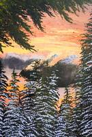 Squamish BC sunset winter painting
