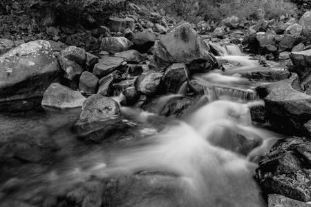 Boulder Creek Water Falling in Monochrome