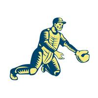 Baseball Catcher Catching Woodcut