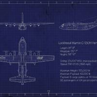 """C-130H Blueprint"" by mabrooks"