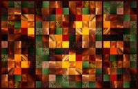 Abstract Squares Triptych Gentle Brown