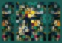 Abstract Squares Triptych Gentle Green