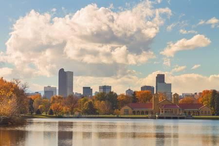 Denver Colorado Skyline Autumn View