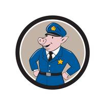 Policeman Pig Sheriff Circle Cartoon