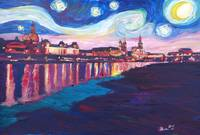 Starry Night in Dresden - Van Gogh Feeling on Rive