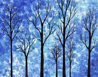 Winter Forest Abstract Painting Decor