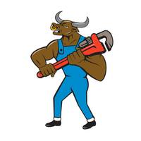 Minotaur Bull Plumber Wrench Isolated Cartoon