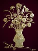 Straw Flowers of Daily Bread on Burgundy Velvet