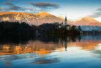 Sunset over Lake Bled