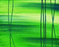 Green Abstract Landscape Painting Peaceful Meadow