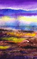 Abstract Landscape Painting Yellow Fog Purple Air