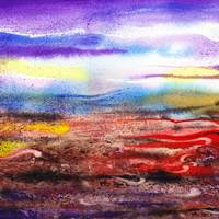 Abstract Landscape Painting Purple Sunrise