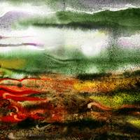 Misty Evening Abstract Landscape Painting