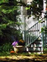 Porch With Urn and Pumpkin