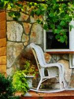 Wicker Rocking Chair on Porch