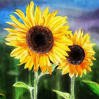 Two Happy Sunflowers Painting