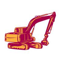 Mechanical Digger Excavator Woodcut