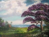 Tropical Jacaranda Tree Oil Painting