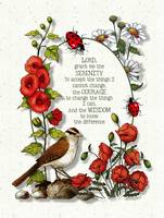 Serenity Prayer with Bird and Flowers