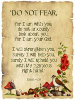 Bible Verse: Isaiah 41, Do Not Fear, Parchment, Fl