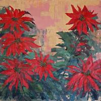 Red Poinsettias by George Wood by Karen Adams