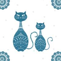 Blue Cats illustration