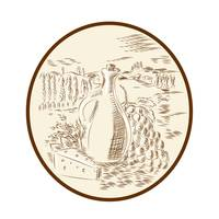 Olive Oil Jar Cheese Tuscan Countryside Etching