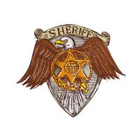 Sheriff Badge American Eagle Shield Drawing
