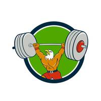 Bald Eagle Weightlifter Lifting Barbell Circle Car
