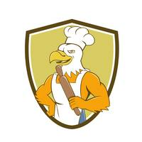 Bald Eagle Baker Chef Rolling Pin Crest Cartoon