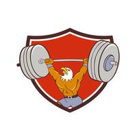 Bald Eagle Weightlifter Lifting Barbell Crest Cart