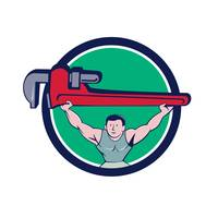 Plumber Weightlifter Monkey Wrench Circle Cartoon