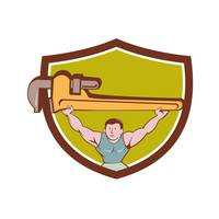 Plumber Weightlifter Monkey Wrench Crest Cartoon