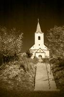 stairway to old church-sepia vinttage