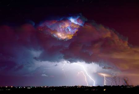 Lightning Thunderstorm Over Dacona