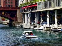 Chicago IL - Motorboat Near Dearborn Street Bridge