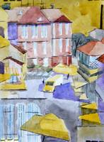 Cubistic view of Skadarlija - original watercolor