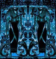Egyptian Priests and Cobras in  Blue I