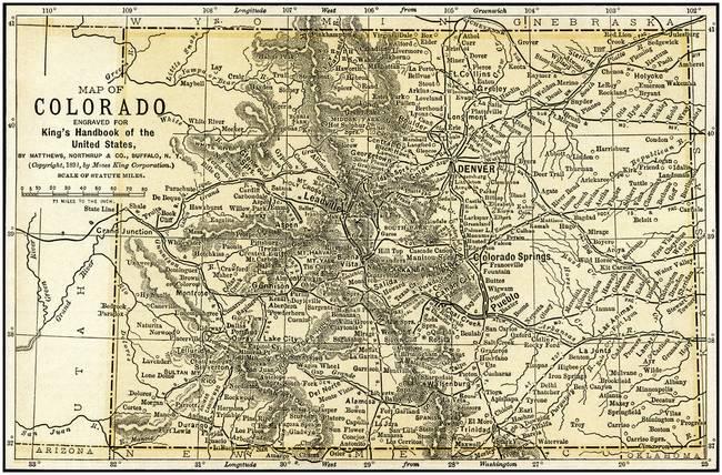 Colorado Map Art.Colorado Antique Map 1891 By Phil Cardamone