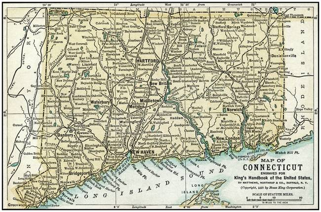 Connecticut Antique Map 1891 by Phil Cardamone