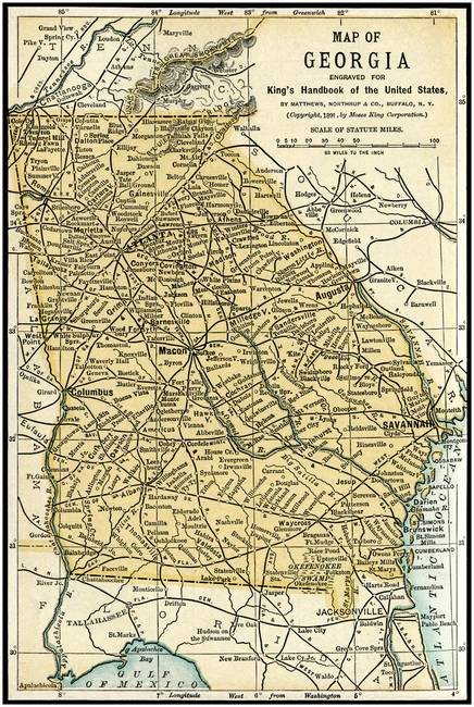 Georgia Antique Map 1891 by Phil Cardamone