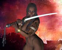 Dark Samurai sword girl nude