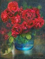 roses in blue jar