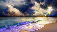 panoramic blue clouds beach sunset