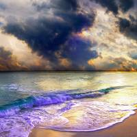 panoramic blue clouds beach sunset Art Prints & Posters by eszra tanner
