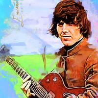 """George Harrison Art by Edward Vela"" by artofvela"