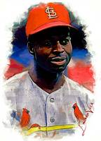 Lou Brock #5 Art by Edward Vela
