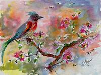 Spring Bird Fantasy Watercolor and Ink
