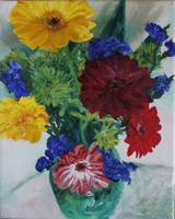 gerberas with statice and green mums